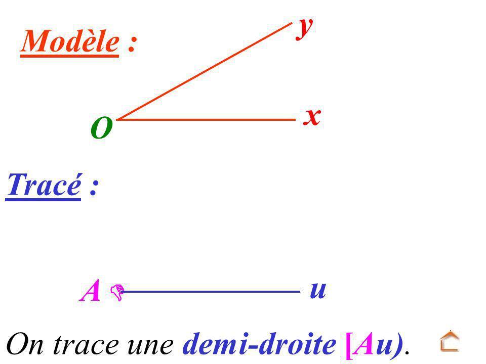 O x y Modèle : Tracé : A  u On trace une demi-droite [Au).